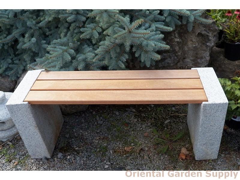 Granite bench w-wood seat 47L x 18H