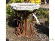 Granite Boulder Birdbath Cattail