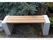 Granite bench w-wood seat 47L x 18H