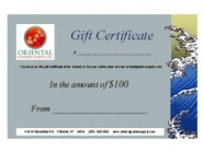 OGS Gift Certificate-$100